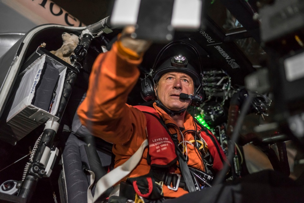 Picture shows pilot Andre Borschberg during the final preparation of Solar Impulse 2, a solar power plane, from Nagoya Komaki airport tonight at 3:03 am on June 29, 2015. The plane is en route to Hawaii after spending an unscheduled four-week stopover due to bad weather. The 5-day flight to Hawaii will be the eighth and longest of the pioneering plane's 35,000-kilometer journey.