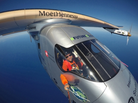 Picture shows Swiss pilot Bertrand Piccard taking a selfie on board Solar Impulse 2 during a test flight over the Pacific Ocean on the 09-April-2016, made available by Solar Impulse today, 23-April-2016. Piccard plans to arrive at Moffat airfield in Mountain View in the Bay area around midnight from Saturday to Sunday.