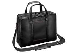 Businesstasche AMG, Schwarz mit roten Kontrastnähten. Rindleder. AMG business bag, black with red topstitching. Leather.