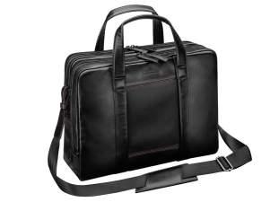 Businesstasche AMG, Schwarz mit roten Kontrastnähten. Rindleder. AMG business bag, black with red topstitching. Leather.