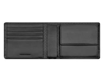 Geldbörse AMG, Schwarz mit roten Kontrastnähten. Lammleder. AMG wallet, black with red topstitching. Lambskin.