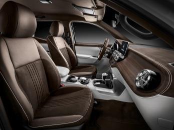 Mercedes-Benz Concept X-CLASS stylish explorer – Interieur, Kombination aus weißem Nappaleder und braunem Nubukleder ; Mercedes-Benz Concept X-CLASS stylish explorer – Interior, Mix of white nappa leather and brown nubuck leather;
